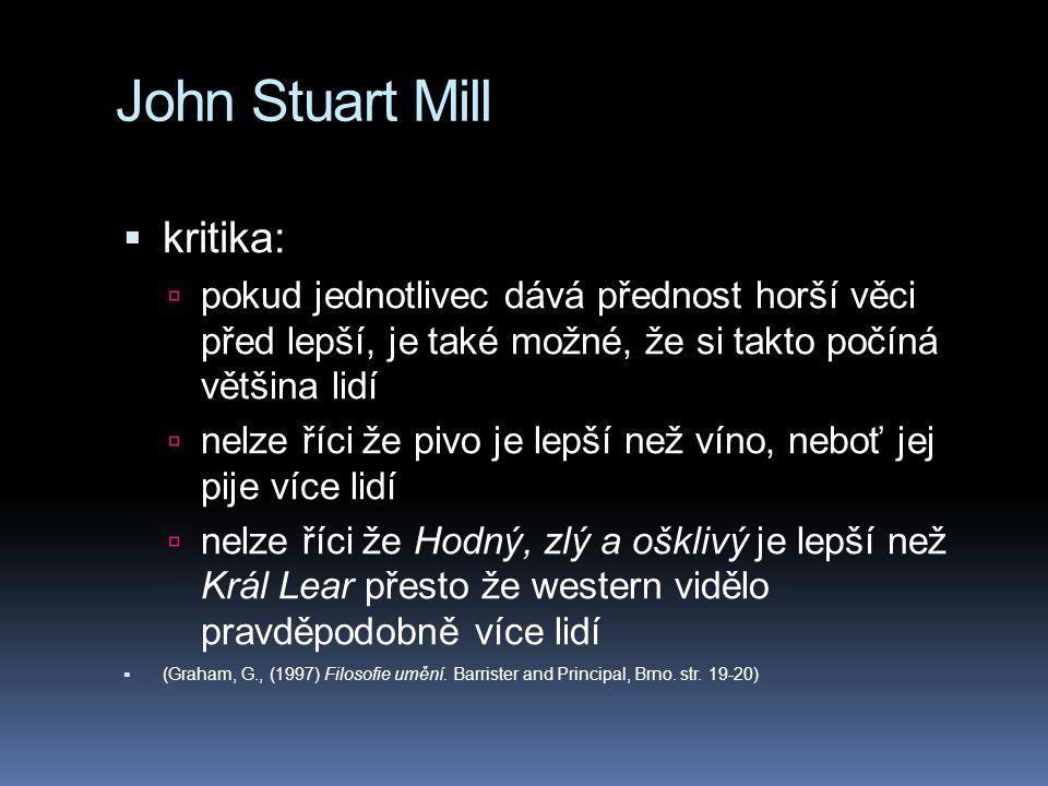 John Stuart Mill kritika: