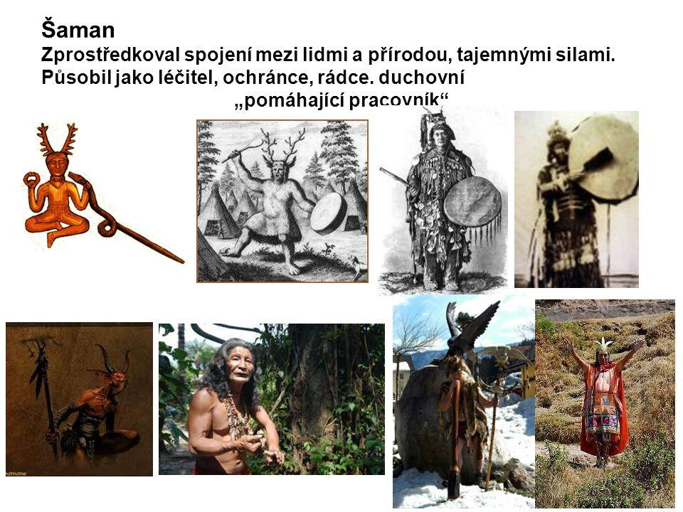 Šaman Zprostředkoval spojení mezi lidmi a přírodou, tajemnými silami