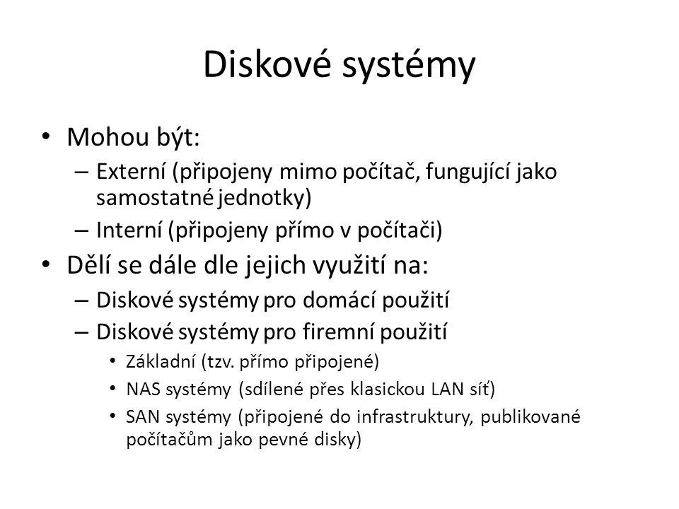 Diskové systémy Mohou být: Dělí se dále dle jejich využití na: