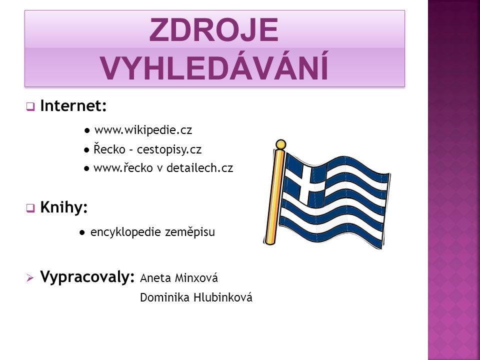 ZDROJE VYHLEDÁVÁNÍ Internet: ● www.wikipedie.cz Knihy: