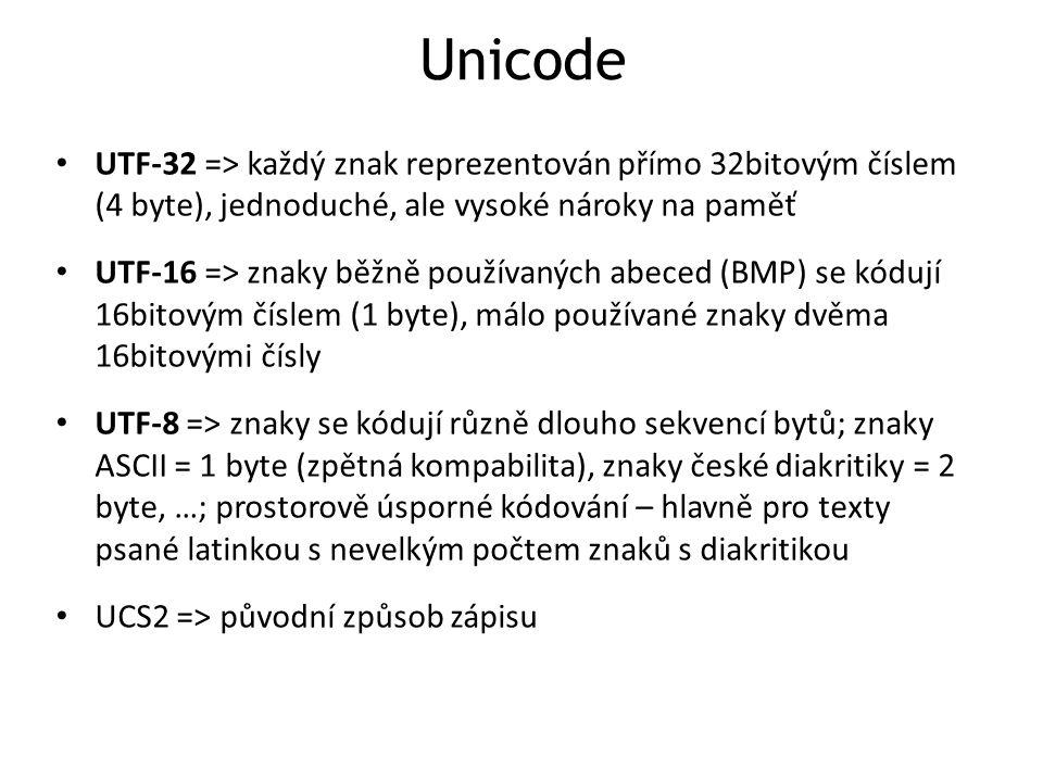 Unicode UTF-32 => každý znak reprezentován přímo 32bitovým číslem (4 byte), jednoduché, ale vysoké nároky na paměť.