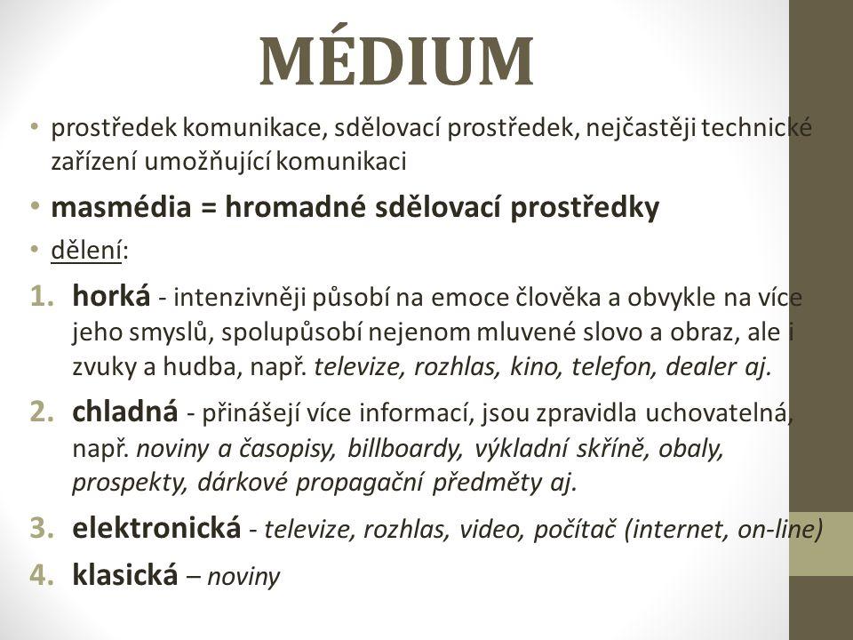 MÉDIUM masmédia = hromadné sdělovací prostředky