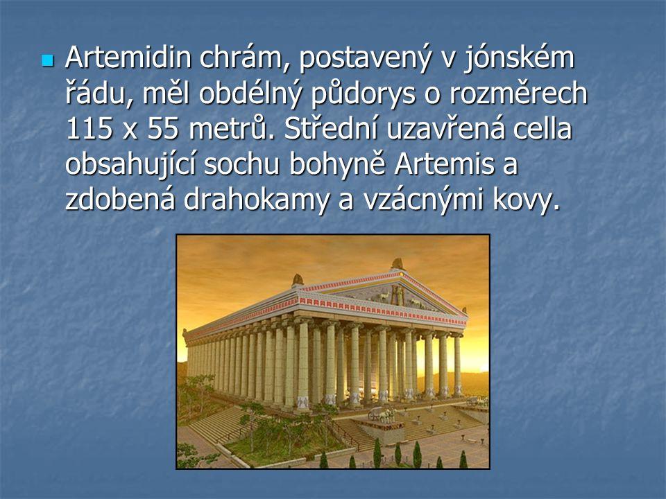 Artemidin chrám, postavený v jónském řádu, měl obdélný půdorys o rozměrech 115 x 55 metrů.