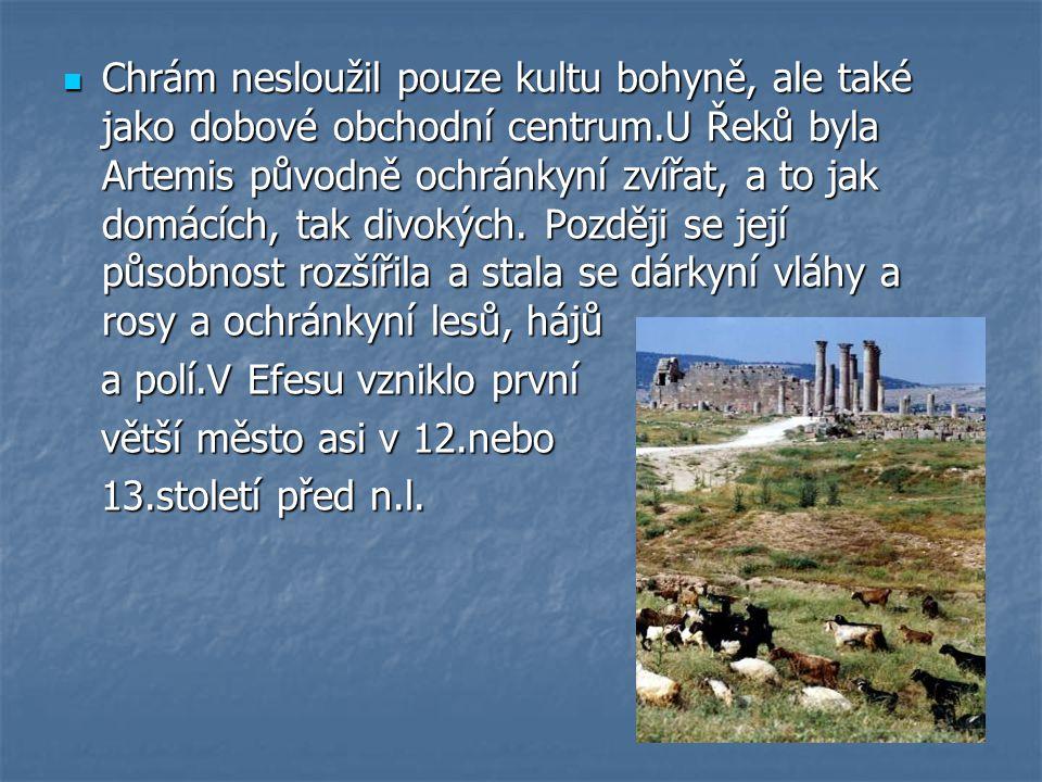 Chrám nesloužil pouze kultu bohyně, ale také jako dobové obchodní centrum.U Řeků byla Artemis původně ochránkyní zvířat, a to jak domácích, tak divokých. Později se její působnost rozšířila a stala se dárkyní vláhy a rosy a ochránkyní lesů, hájů