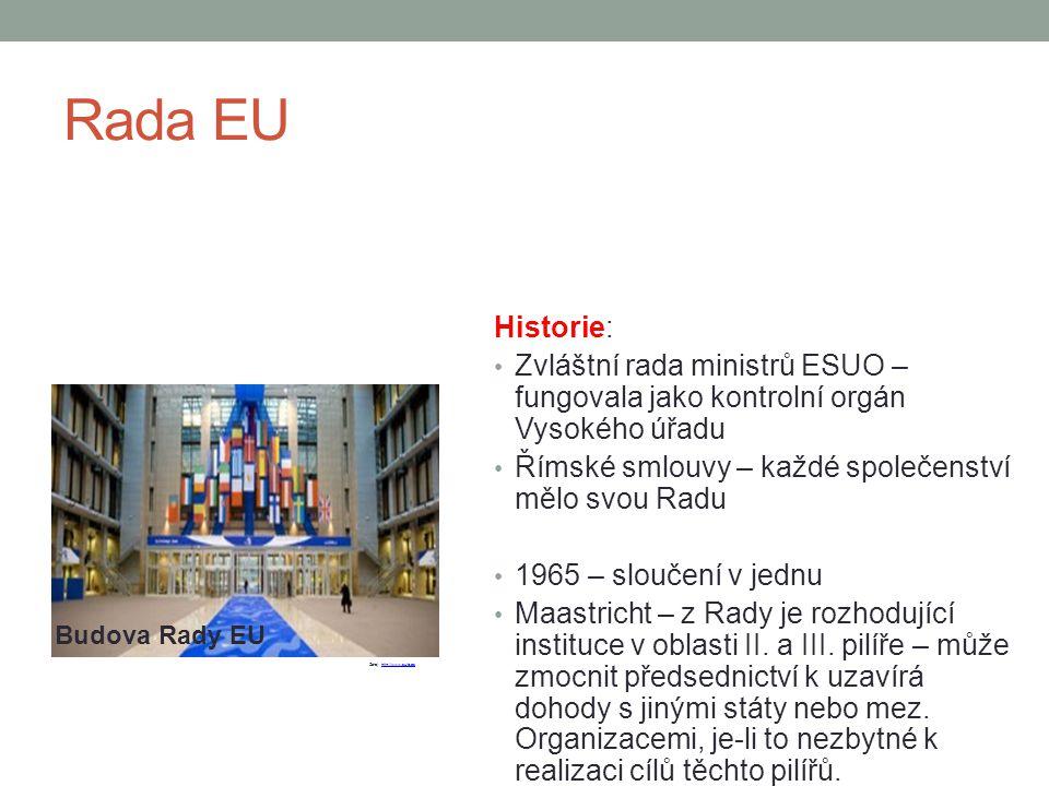 Rada EU Historie: Zvláštní rada ministrů ESUO – fungovala jako kontrolní orgán Vysokého úřadu. Římské smlouvy – každé společenství mělo svou Radu.
