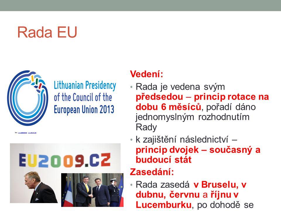 Rada EU Vedení: Rada je vedena svým předsedou – princip rotace na dobu 6 měsíců, pořadí dáno jednomyslným rozhodnutím Rady.