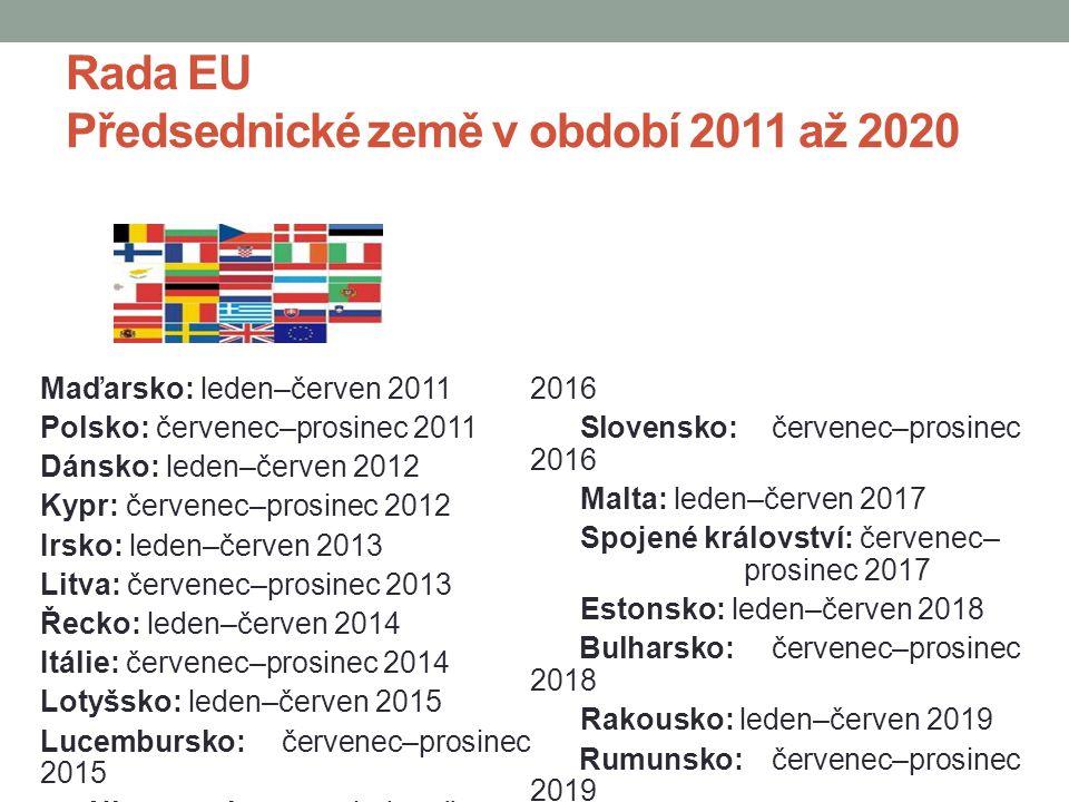 Rada EU Předsednické země v období 2011 až 2020