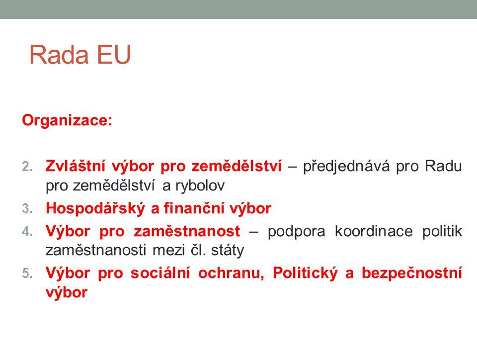 Rada EU Organizace: Zvláštní výbor pro zemědělství – předjednává pro Radu pro zemědělství a rybolov.