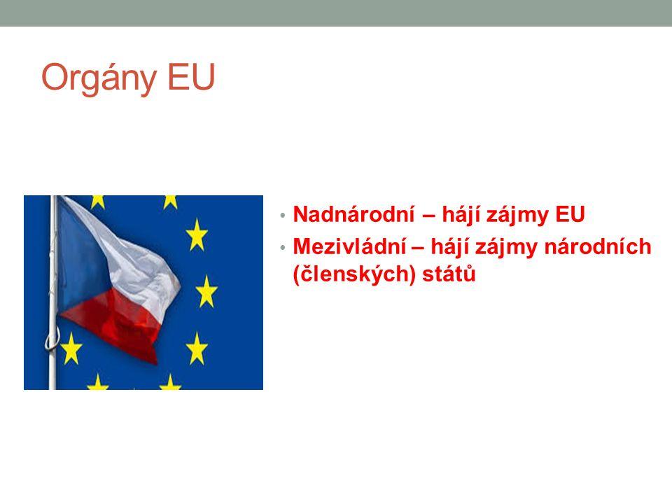 Orgány EU Nadnárodní – hájí zájmy EU