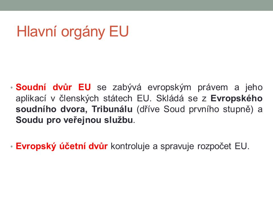 Hlavní orgány EU
