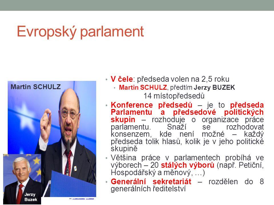 Evropský parlament V čele: předseda volen na 2,5 roku 14 místopředsedů