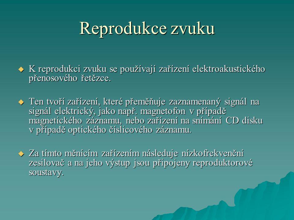 Reprodukce zvuku K reprodukci zvuku se používají zařízení elektroakustického přenosového řetězce.
