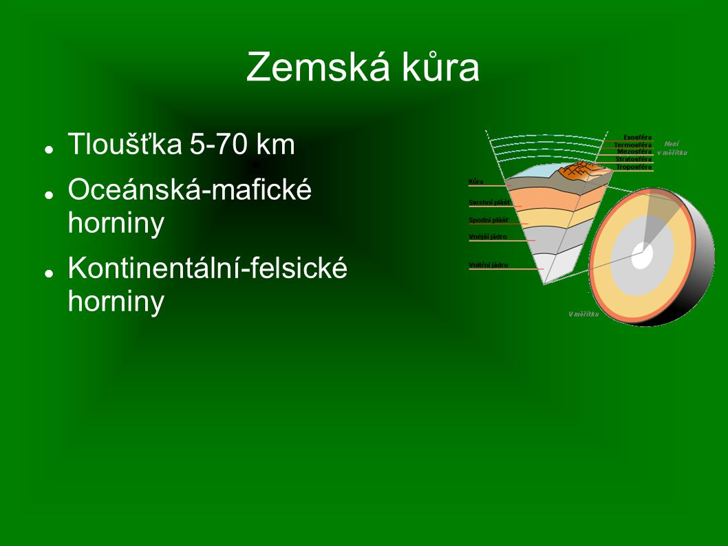 Zemská kůra Tloušťka 5-70 km Oceánská-mafické horniny