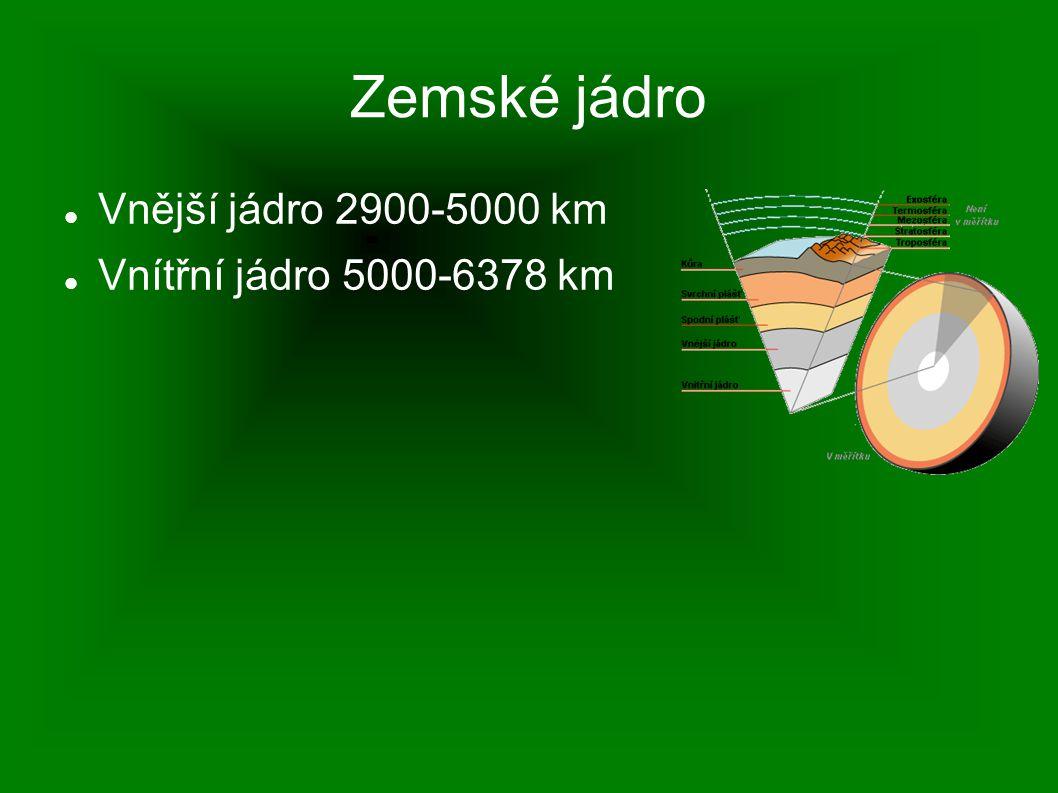 Zemské jádro Vnější jádro 2900-5000 km Vnítřní jádro 5000-6378 km