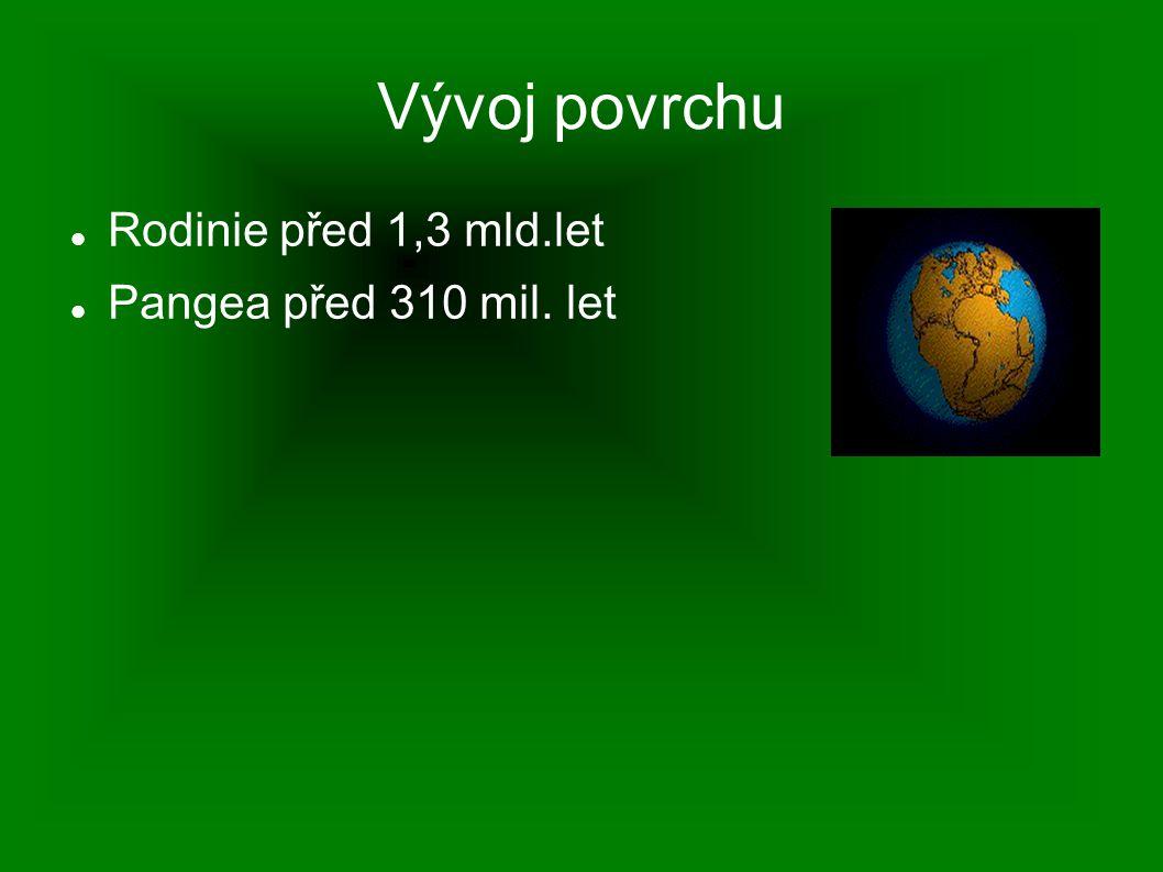 Vývoj povrchu Rodinie před 1,3 mld.let Pangea před 310 mil. let