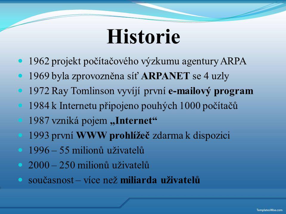 Historie 1962 projekt počítačového výzkumu agentury ARPA