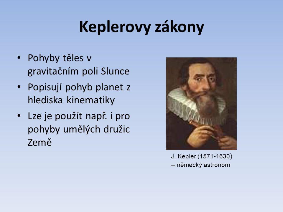 Keplerovy zákony Pohyby těles v gravitačním poli Slunce