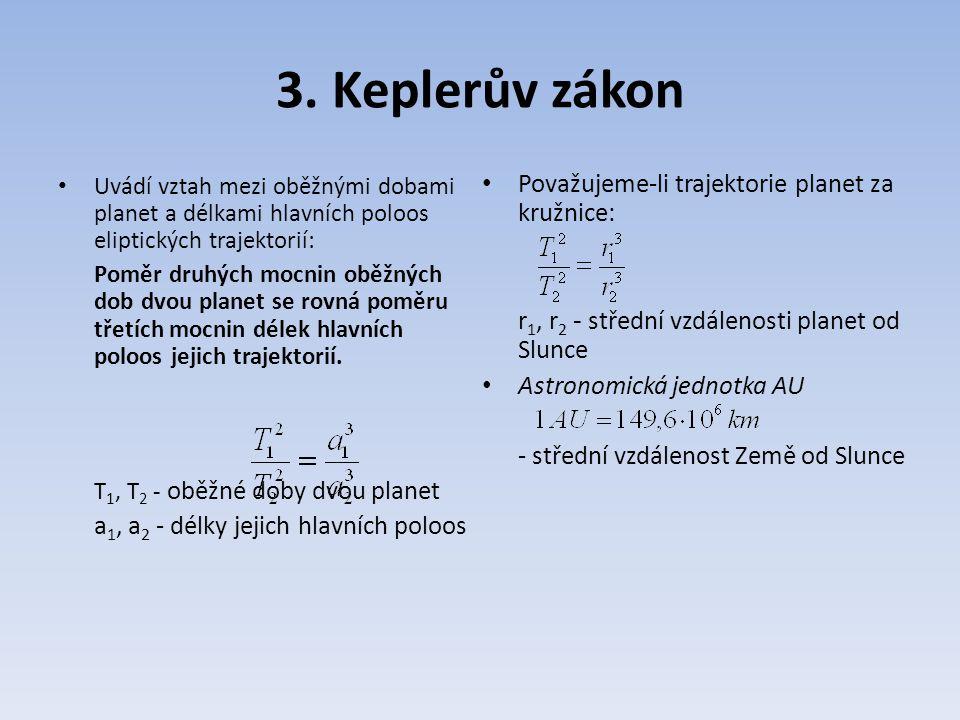 3. Keplerův zákon Považujeme-li trajektorie planet za kružnice: