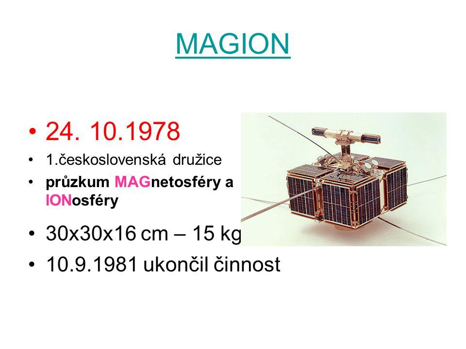 MAGION 24. 10.1978 30x30x16 cm – 15 kg 10.9.1981 ukončil činnost