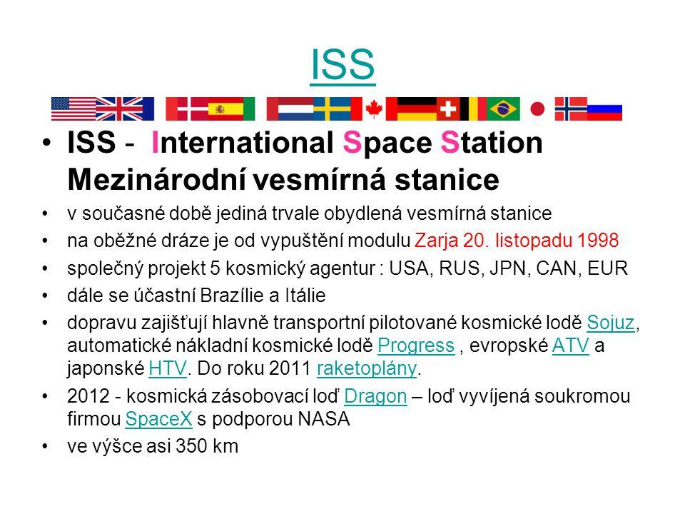 ISS ISS - International Space Station Mezinárodní vesmírná stanice
