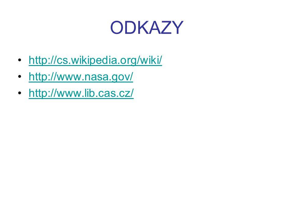 ODKAZY http://cs.wikipedia.org/wiki/ http://www.nasa.gov/