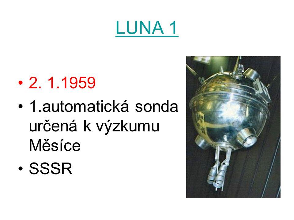 LUNA 1 2. 1.1959 1.automatická sonda určená k výzkumu Měsíce SSSR