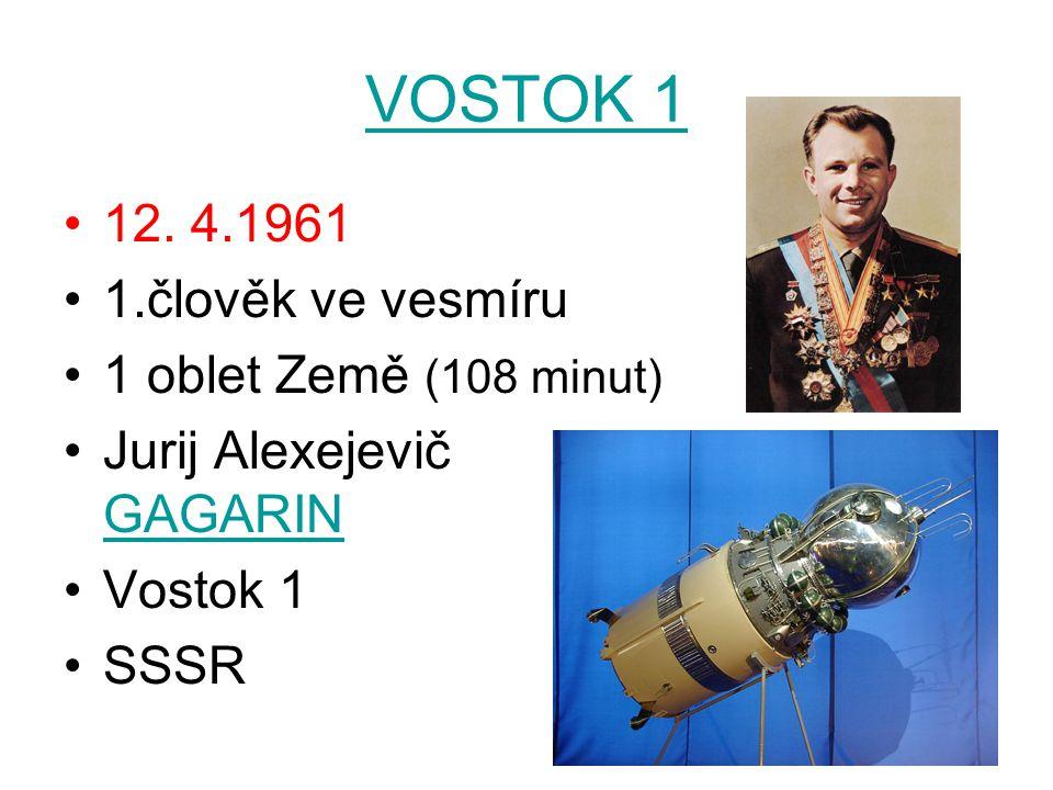 VOSTOK 1 12. 4.1961 1.člověk ve vesmíru 1 oblet Země (108 minut)