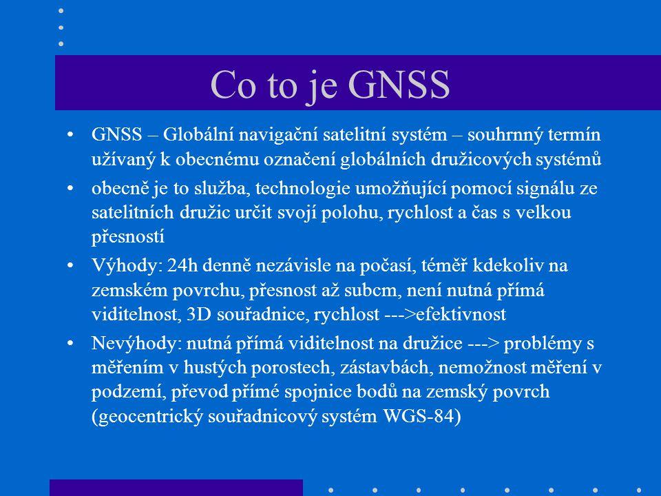 Co to je GNSS GNSS – Globální navigační satelitní systém – souhrnný termín užívaný k obecnému označení globálních družicových systémů.