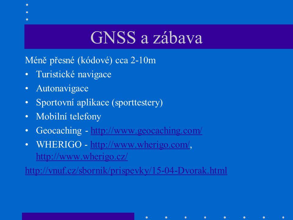 GNSS a zábava Méně přesné (kódové) cca 2-10m Turistické navigace