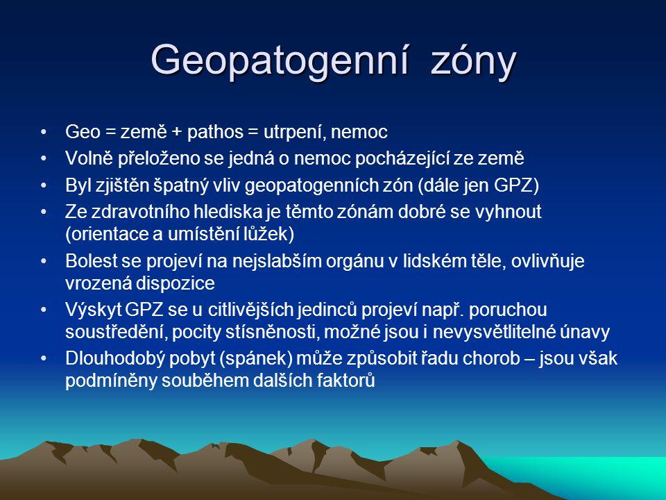 Geopatogenní zóny Geo = země + pathos = utrpení, nemoc