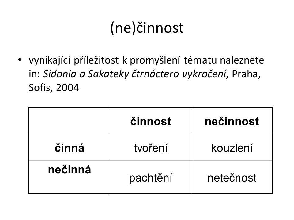 (ne)činnost vynikající příležitost k promyšlení tématu naleznete in: Sidonia a Sakateky čtrnáctero vykročení, Praha, Sofis, 2004.