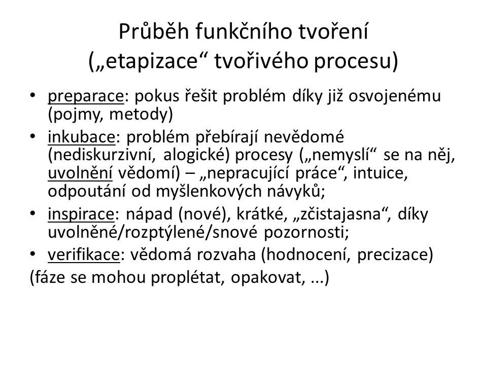 """Průběh funkčního tvoření (""""etapizace tvořivého procesu)"""