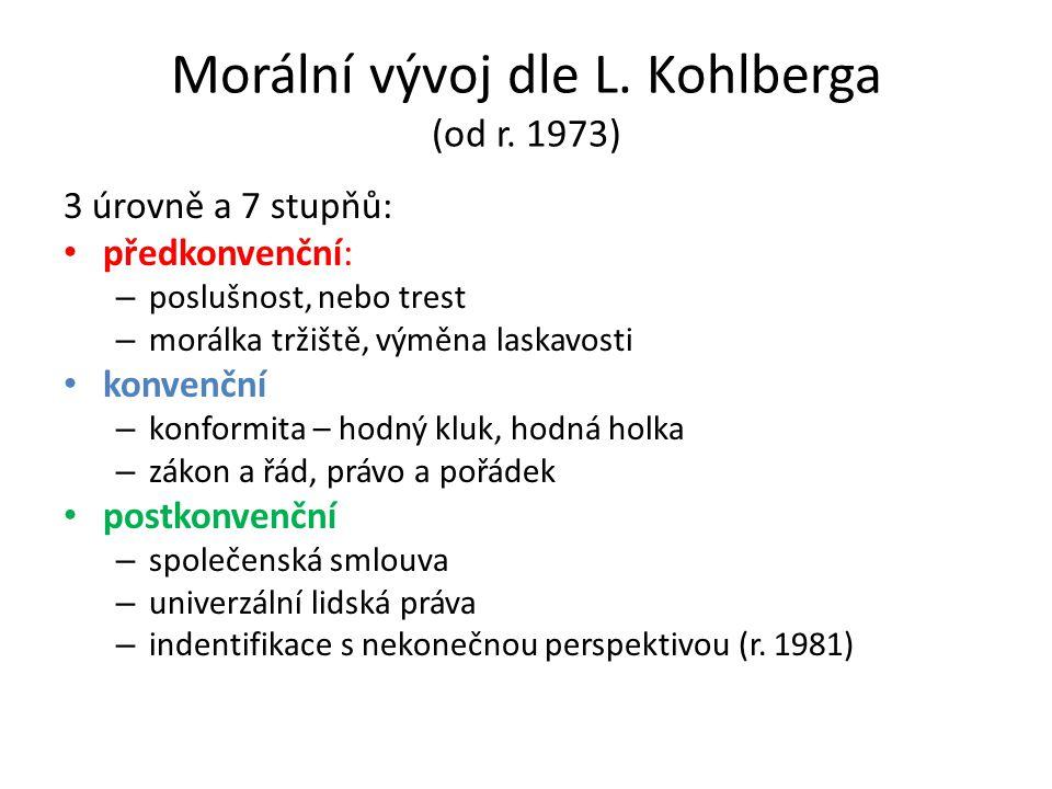 Morální vývoj dle L. Kohlberga (od r. 1973)