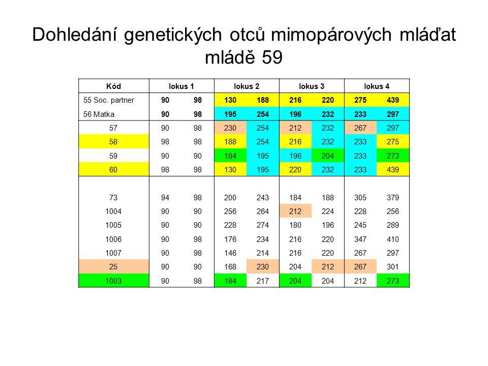 Dohledání genetických otců mimopárových mláďat mládě 59