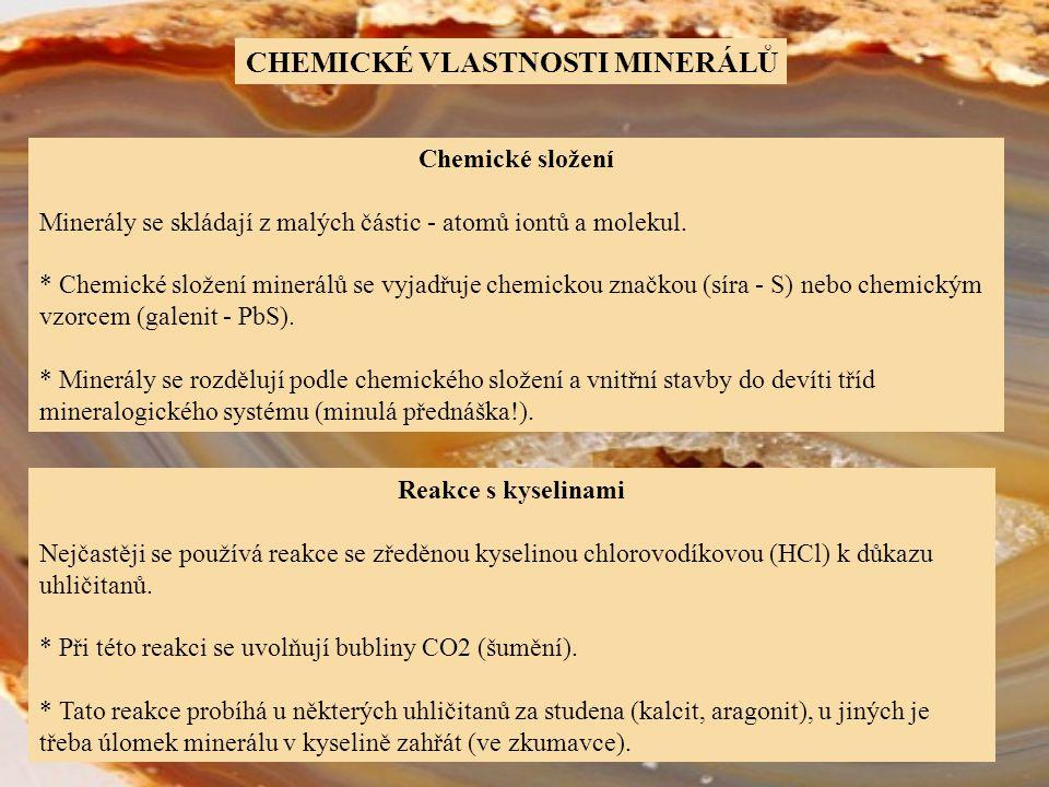 CHEMICKÉ VLASTNOSTI MINERÁLŮ