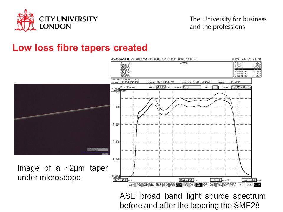 Low loss fibre tapers created