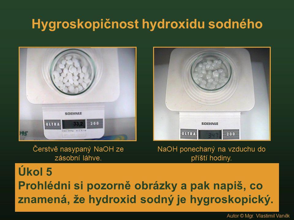 Hygroskopičnost hydroxidu sodného