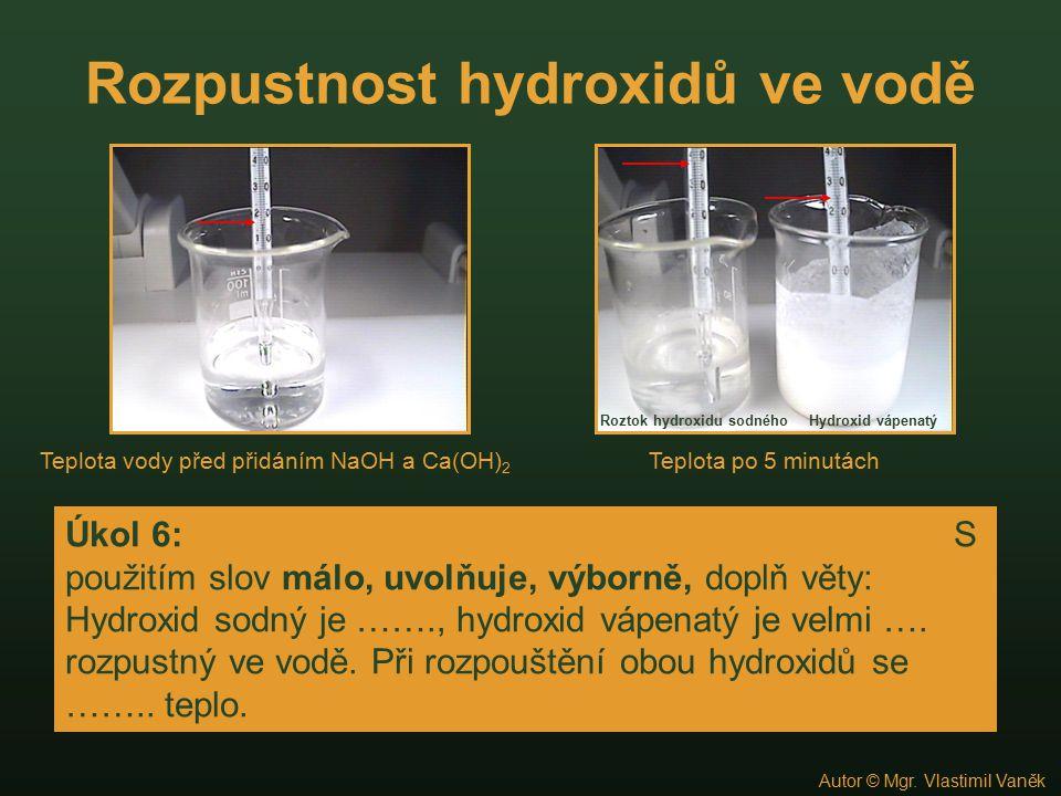 Rozpustnost hydroxidů ve vodě