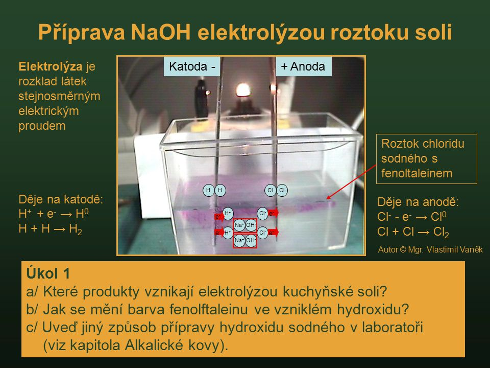 Příprava NaOH elektrolýzou roztoku soli