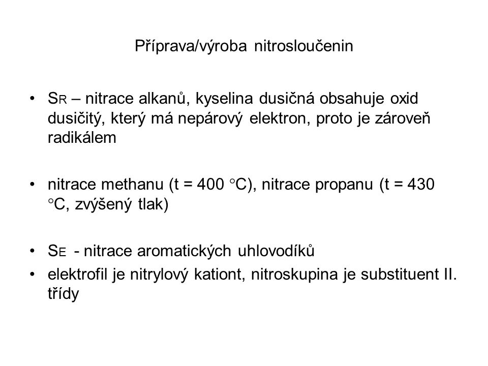 Příprava/výroba nitrosloučenin