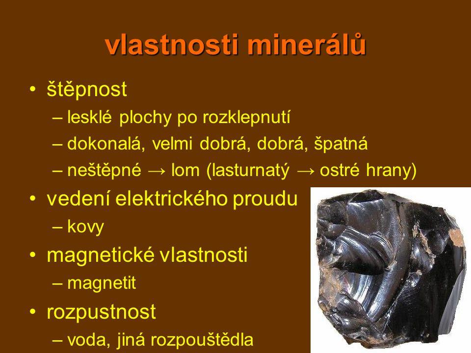 vlastnosti minerálů štěpnost vedení elektrického proudu