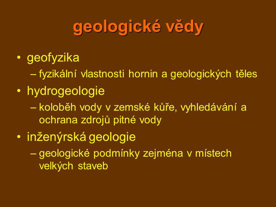geologické vědy geofyzika hydrogeologie inženýrská geologie