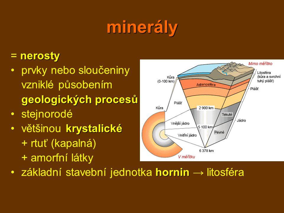 minerály = nerosty prvky nebo sloučeniny vzniklé působením