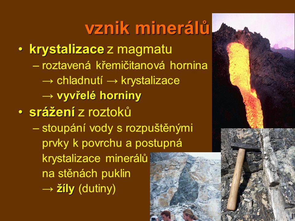 vznik minerálů krystalizace z magmatu srážení z roztoků