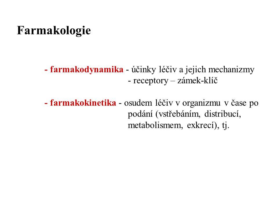 Farmakologie - farmakodynamika - účinky léčiv a jejich mechanizmy - receptory – zámek-klíč.
