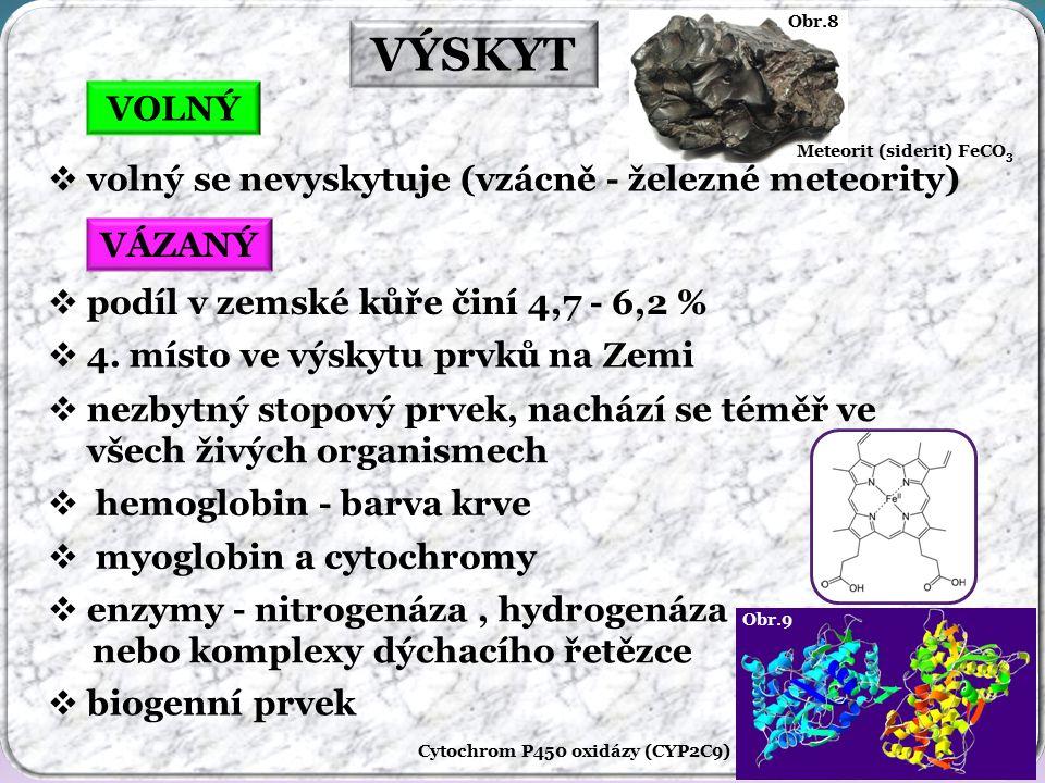 VÝSKYT VOLNÝ volný se nevyskytuje (vzácně - železné meteority) VÁZANÝ