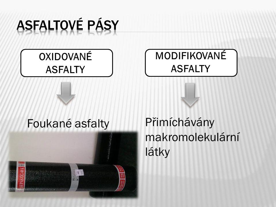 Asfaltové pásy Přimíchávány makromolekulární látky Foukané asfalty