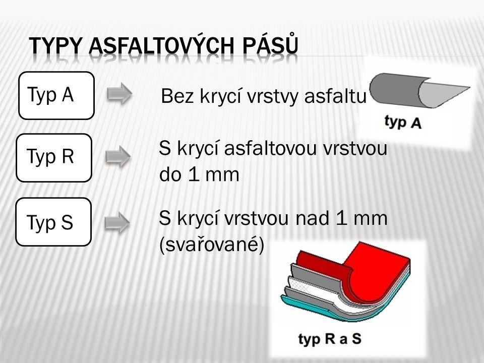 Typy asfaltových pásů Typ A Bez krycí vrstvy asfaltu