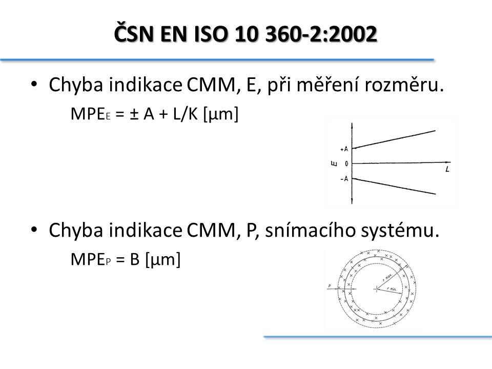 ČSN EN ISO 10 360-2:2002 Chyba indikace CMM, E, při měření rozměru.