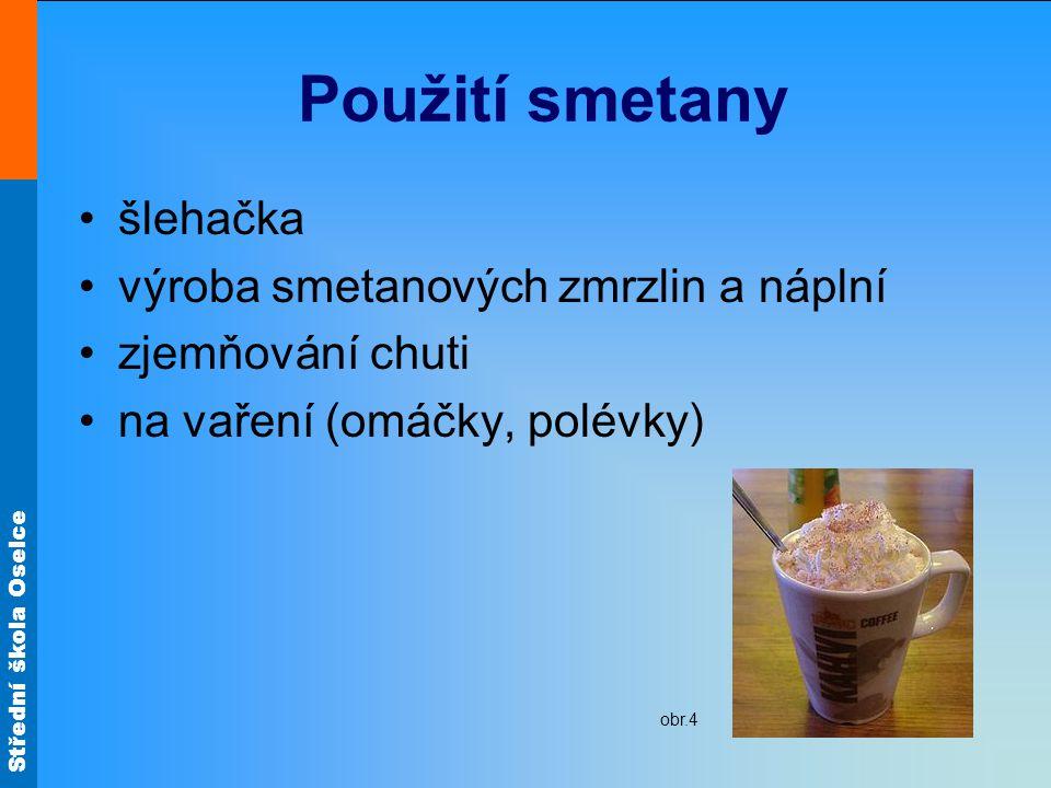 Použití smetany šlehačka výroba smetanových zmrzlin a náplní